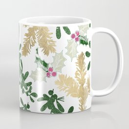 Christmas Gold Green Red Glitter Mistletoe Holly Floral Coffee Mug