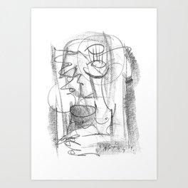 Thinker - b&w Art Print