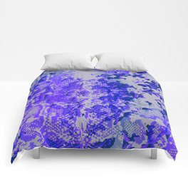 camouflage with snake texture in blues Comforters