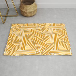 Sketchy Abstract (White & Orange Pattern) Rug