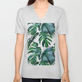 Tropical Palm Leaves Classic Unisex V-Neck