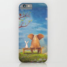 Elephant and rabbit sit on a bench on the glade iPhone 6 Slim Case