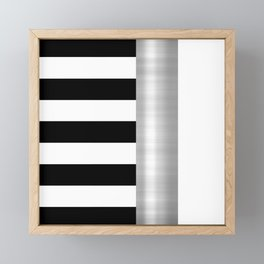 Black & White Stripes & Silver Metallic Accent Framed Mini Art Print