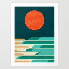 Chasing wave under the red moon Art Print