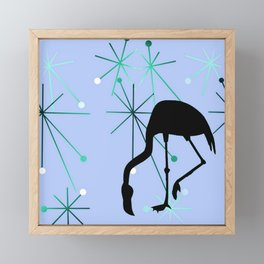 Flamingo MidCentury Modern Atomic Starburst Blue Framed Mini Art Print