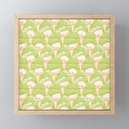 Calla Lily with Leaves Seamless Vector Pattern Framed Mini Art Print