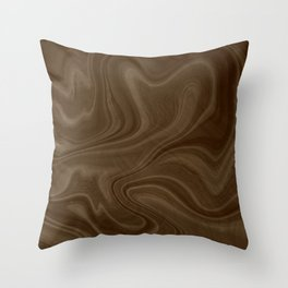 Chocolate Brown Swirl Throw Pillow