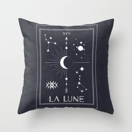 The Moon or La Lune Tarot Throw Pillow