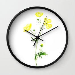 yellow buttercup flower watercolor Wall Clock