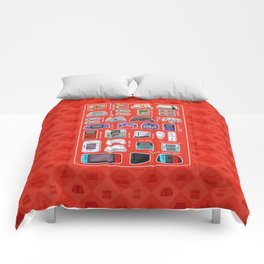 Pixel Art Consoles in Red Comforters
