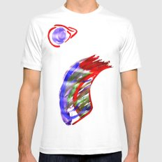 Face and a moon White MEDIUM Mens Fitted Tee
