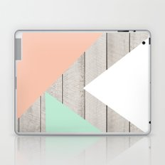 Modern Teal Peach Triangles Color Block on Wood Laptop & iPad Skin
