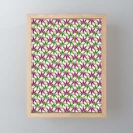 WEED LOVE, PINK GREEN Cannabis Smoke Weed Marijuana Framed Mini Art Print