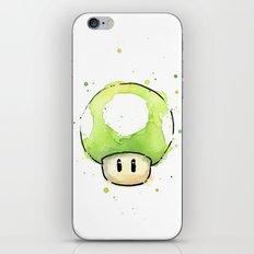 1UP Green Mushroom Painting Mario Gaming Geek Videogame Art iPhone & iPod Skin