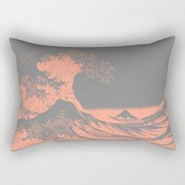 The Great Wave Peach & Gray Rectangular Pillow
