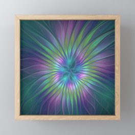 Colorful and luminous Fantasy Flower, Abstract Fractal Art Framed Mini Art Print