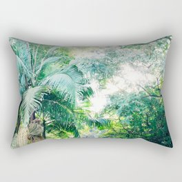 Lost in the jungle bright green tropical palm tree forest photography Rectangular Pillow