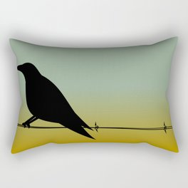 Crow on a (Barbed) Wire Rectangular Pillow