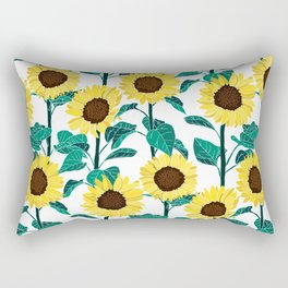 Sunny Sunflowers - White Rectangular Pillow