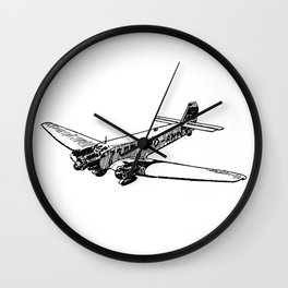 Old Airplane Detailed Illustration Wall Clock