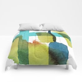 Blue and Yellow and Green Abstract Art Comforters