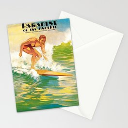 Paradise of the Pacific Surfer's Paradise Vintage Poster Stationery Cards