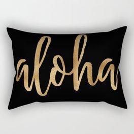 Aloha  - gold on black Rectangular Pillow