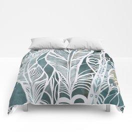 Feathery Design in Emerald Green Comforters
