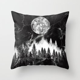 marble black and white landscape Throw Pillow