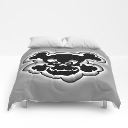 Funny Skull  Black Gray Comforters