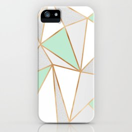 Mint Green, Grey & Gold Geo iPhone Case