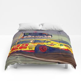 Joey Logano celebrating winning the 2018 championship. Comforters