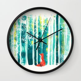 Fox in quiet forest Wall Clock