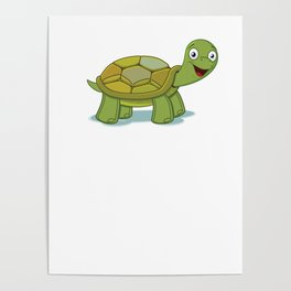 No Stress Funny Turtles Tortoise Reptiles Water Slider Aquamarine Marine Life Animals Gift Poster