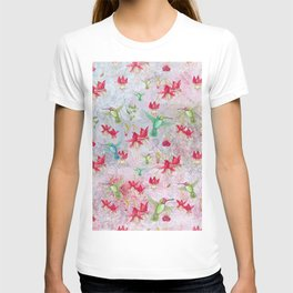 Vintage Watercolor hummingbird and Fuchsia Flowers on pink Background T-shirt