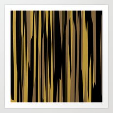 Yellow tan and black abstract Art Print