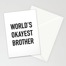 World's Okayest Brother Black Typography Stationery Cards