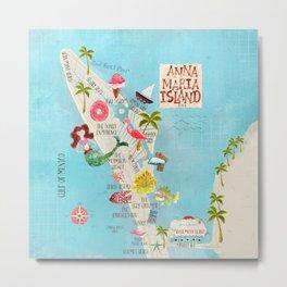 Anna Maria Island Map Metal Print