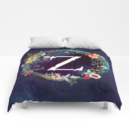 Personalized Monogram Initial Letter Z Floral Wreath Artwork Comforters
