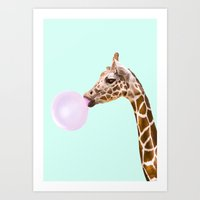 Art Prints featuring GIRAFFE by Paul Fuentes