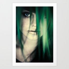 Girl In Leaves Art Print