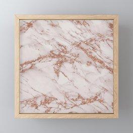 Trendy elegant rose gold glitter gray marble Framed Mini Art Print