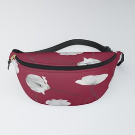 Small poppies pattern on burgundy red Fanny Pack