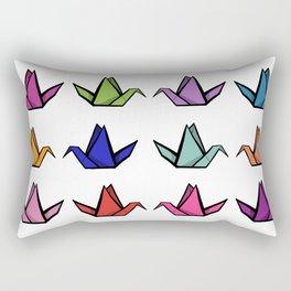 Multicoloured Origami Cranes Rectangular Pillow