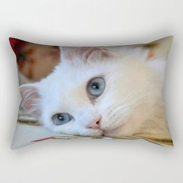 Portrait of A Blue Eyed Van Cat Rectangular Pillow