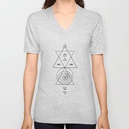Espiral Triangle White Unisex V-Neck