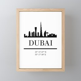 DUBAI UAE BLACK SILHOUETTE SKYLINE ART Framed Mini Art Print