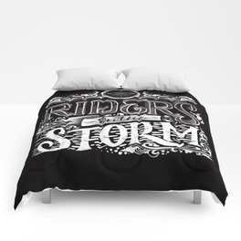 Riders on the storm chalk lettering Comforters