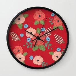 Flower Pattern, Pink Blue Flowers on Red, Vintage Floral Design Wall Clock