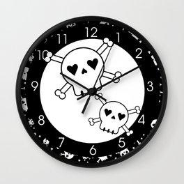 Skull and Crossbones White on Black Wall Clock